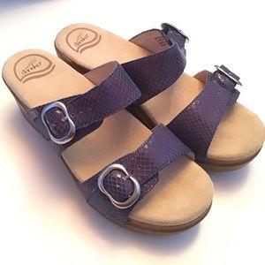 Dansko Leather Strappy Wedge Clog Sandals Shoe 6.5